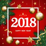Banret 2018 för det lyckliga nya året med sörjer dekorerade filialer, guldst Arkivbild