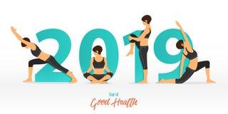Banret 2019 för det lyckliga nya året med yoga poserar År av goda hälsor Banerdesignmall för garnering för nytt år i yogabegrepp royaltyfri illustrationer