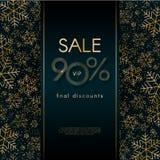 Banret för det nya året för jul för erbjudandet för den Sale 90% blänker det sista rabattstorgubben lyxiga med modellen av guld-  royaltyfri illustrationer