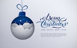 Banret för glad jul, feriedesignen, pappers- garnering för Xmas-trädleksaken med snöflingor, snö, smsar glad jul, blå backgroun stock illustrationer