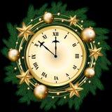 Banret för glad jul med klockan, sörjer dekorerade filialer, guld Arkivfoto