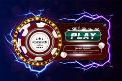 Banret för kasinopokerrengöringsduken med chiper, tärningen och lek knäppas Modiga chiper 3D för kasino Online-kasinobaner Realis vektor illustrationer