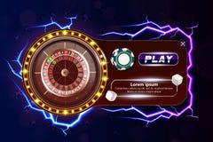 Banret för kasinopokerrengöringsduken med rouletten, chiper, tärningen och lek knäppas Modiga chiper 3D för kasino Online-kasinob royaltyfri illustrationer