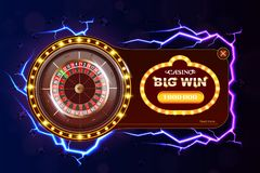 Banret för kasinopokerrengöringsduken med rouletten, chiper, tärningen och lek knäppas Modiga chiper 3D för kasino Online-kasinob vektor illustrationer