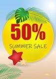 Banret för sommarförsäljningsvektorn ställde in med 50 av rabatttext- och sommarbeståndsdelar i färgrika bakgrunder för rengöring stock illustrationer