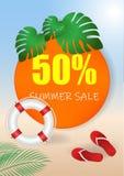 Banret för sommarförsäljningsvektorn ställde in med 50 av rabatttext- och sommarbeståndsdelar i färgrika bakgrunder för rengöring vektor illustrationer