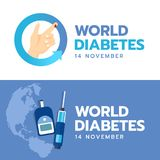 Banret för världssockersjukadagen med handen och bloddroppe undertecknar in den blåa pilcirkeln och ger första erfarenhet Sugar T Royaltyfri Bild