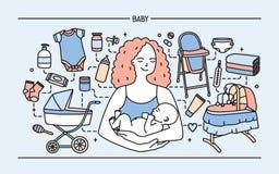 Banret med den gulliga le modern som rymmer det nyfödda barnet, omgav biprodukter, och objekt för spädbarn behandla som ett barn  vektor illustrationer