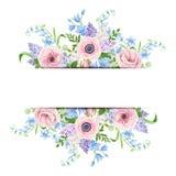Banret med rosa färger, blått och lilor blommar också vektor för coreldrawillustration royaltyfri illustrationer