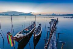 Sunrise above Bansamchong fishing village in Phang Nga province. Stock Image