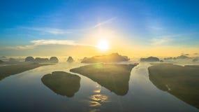 Sunrise above Bansamchong fishing village in Phang Nga province. Stock Images