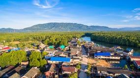 aerial view at Bansamchong fishing village in Phang Nga province. Royalty Free Stock Images