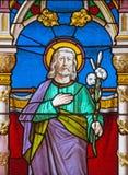 Banska贝洛-圣约翰福音传教士窗玻璃的圣约瑟夫从结尾的教会的19 分 免版税库存图片