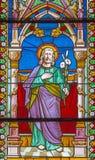 Banska Bela - der St Joseph auf der Fensterscheibe von Johannes die Evangelistkirche vom Ende von 19 cent Lizenzfreies Stockfoto
