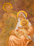 Banska Bela - fresco of Holy Family in St. John the Evangelist church by Jan Antal (1905) as the detail of Adoration of sheeph Royalty Free Stock Photos