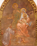 Banska Bela - fresco of Holy Family in St. John the Evangelist church by Jan Antal (1905) as the detail of Adoration of sheeph Stock Images