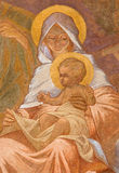 Banska Bela - fresko van Heilige Familie in St John de Evangelistkerk als detail van Bewondering van sheepherdsscène Stock Afbeelding