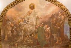 Banska Bela - freskomålning av Kristus som läker i St John evangelistkyrkan av Jan Antal (1905) Royaltyfri Foto