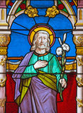 Banska Bela - The St. Joseph on the windowpane of St. John the Evangelist church from end of 19. cent. Royalty Free Stock Images