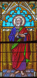 Banska Bela - Stet Peter aposteln på fönsterrutan av St John evangelistkyrkan från slut av 19 cent Royaltyfri Fotografi