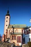 Banska Bystrica老镇地标哥特式教会在斯洛伐克 免版税库存照片