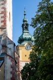 Banska Bystrica,斯洛伐克-城堡尖沙咀钟楼 库存照片