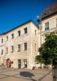 Banska Bystrica,斯洛伐克-主要老正方形-新生廉价公寓 免版税库存照片