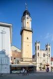 Banska Bystrica,斯洛伐克-主要老正方形-计时镇 免版税库存图片