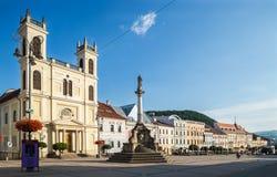Banska Bystrica,斯洛伐克主要老正方形 图库摄影