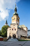 Banska Bystrica,斯洛伐克-防御与钟楼,外堡 免版税库存照片