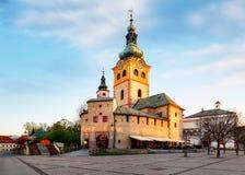 Banska Bystrica - Barbakan,日出的斯洛伐克 免版税图库摄影