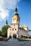 Banska Bystrica, Sistani - Roszuje z zegarowy wierza, barbakan Zdjęcia Royalty Free