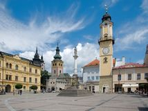 Banska Bystrica, Slovakia. SNP square with Marian Column, Clock Tower and Town Castle in Banska Bystrica, Slovakia Royalty Free Stock Image