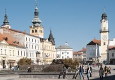 Banska Bystrica, Slovakia - March 1, 2019: Main square of Slovak National Uprising in Banska Bystrica, central Slovakia, Europe.. View on city castle and towers royalty free stock photo