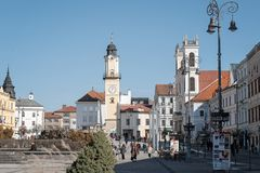 Banska Bystrica, Slovakia - March 1, 2019: Main square of Slovak National Uprising in Banska Bystrica, central Slovakia, Europe.. View on city castle and towers stock photo