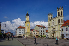Banska Bystrica, Slovakia - May 10, 2013: Town square  with Cloc Royalty Free Stock Image