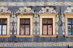 Banska Bystrica, Slovakia - old decorations on tenement houses wall Stock Image