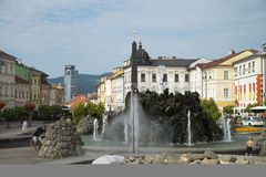Banska Bystrica, Slovakia. SNP square with Marian Column, Clock Tower and Town Castle in Banska Bystrica, Slovakia Stock Image