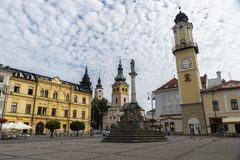 Banska Bystrica, Slovakia. SNP square with Marian Column, Clock Tower and Town Castle in Banska Bystrica, Slovakia Stock Photography