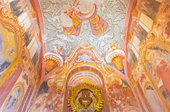 Banska Stiavnca - fresco in lower church of baroque calvary by Anton Schmidt from years 1745 in the Chapel of the Sacred heart. Stock Images