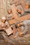 Banska Stiavnica - η χαρασμένη ανακούφιση Βερόνικα σκουπίζει το πρόσωπο του Ιησού σαν μέρος μπαρόκ Calvary από τα έτη (1744 - 175 Στοκ Φωτογραφίες
