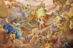 Banska Stiavnica -基督壁画天堂场面荣耀的在教区教堂圆屋顶的从18的 分 由未知的艺术家 免版税库存图片