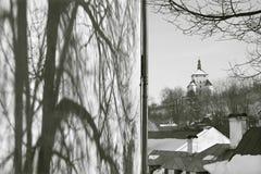 Banska Stiavnica -斯洛伐克-联合国科教文组织纪念碑-新的城堡在冬天晚上 库存图片
