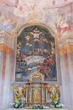 Banska Stiavnica -最后的晚餐和法坛被雕刻的多彩安心在从18的更低的受难象教会里 分 免版税库存照片