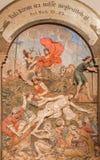 Banska Stiavnica -耶稣被钉牢对十字架作为巴洛克式的受难象的部分从几年1744 - 1751 免版税库存照片