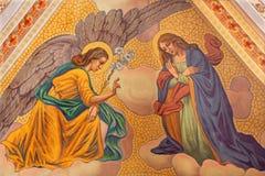Banska Stiavnica - The Annunciation fresco on the ceiling of parish church from year 1910 by P. J. Kern. BANSKA STIAVNICA, SLOVAKIA - FEBRUARY 5, 2015: The stock photos