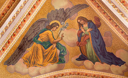Banska Stiavnica - The Annunciation fresco on the ceiling of parish church from year 1910 by P. J. Kern. Royalty Free Stock Photography