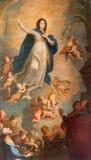 Banska Stiavnica - barokke verf van de Veronderstelling van Maagdelijke Mary in parochiekerk door schilder van Wenen Vincent Fish Royalty-vrije Stock Foto