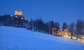 Banska Stiavnica - The baroque calvary built in years 1744 - 1751 in winter Royalty Free Stock Images