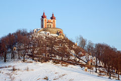 Banska Stiavnica - baroque calvary built in years 1744 - 1751 in winter evening Stock Image